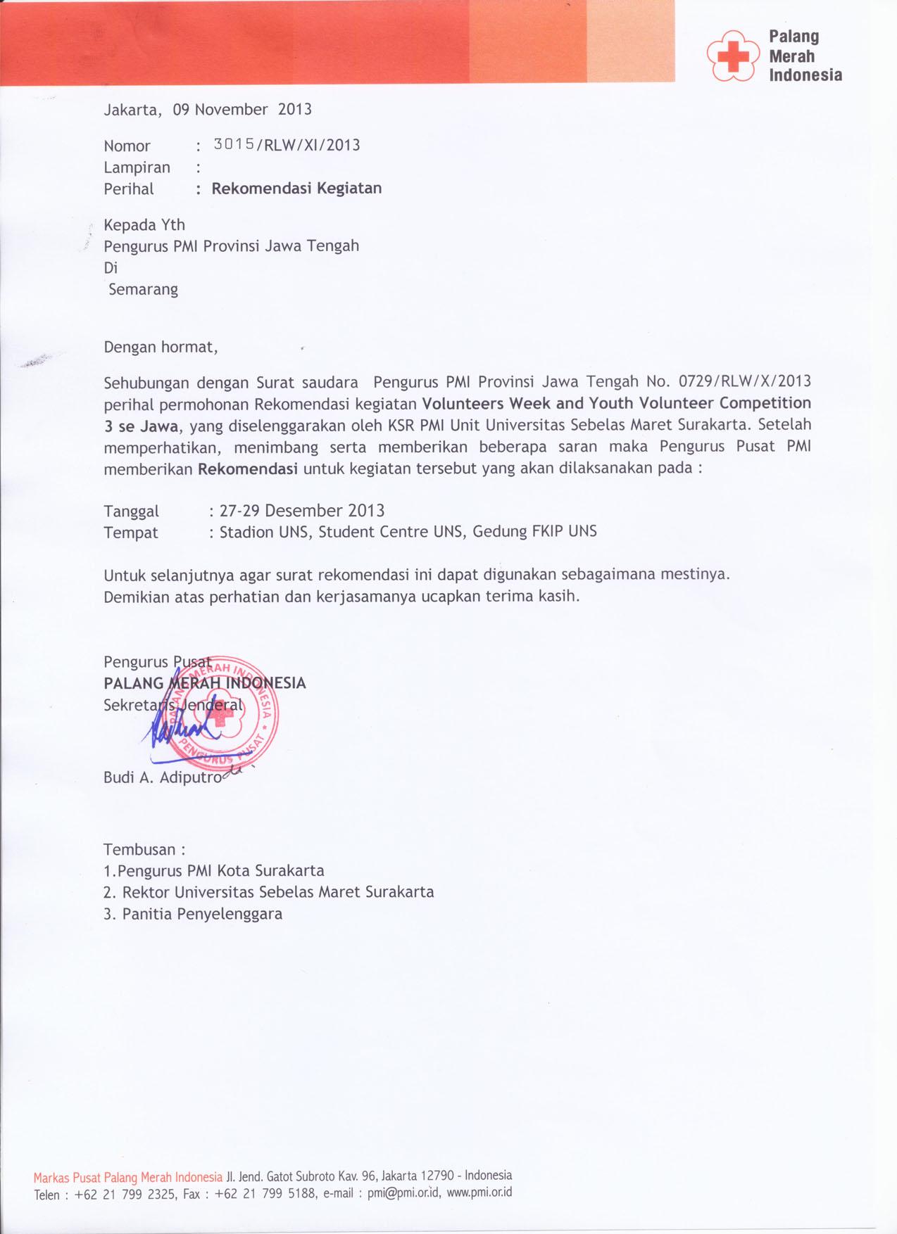 Surat Rekomendasi Pmi Pusat Ksr Pmi Unit Uns